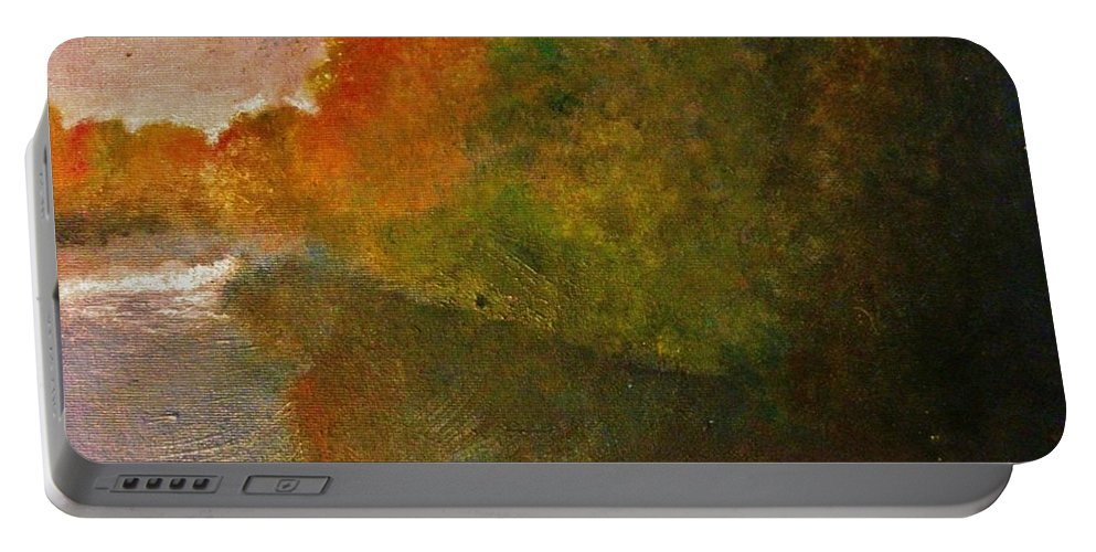 Autumn Portable Battery Charger featuring the painting Autumn Lake View by Crystal Menicola