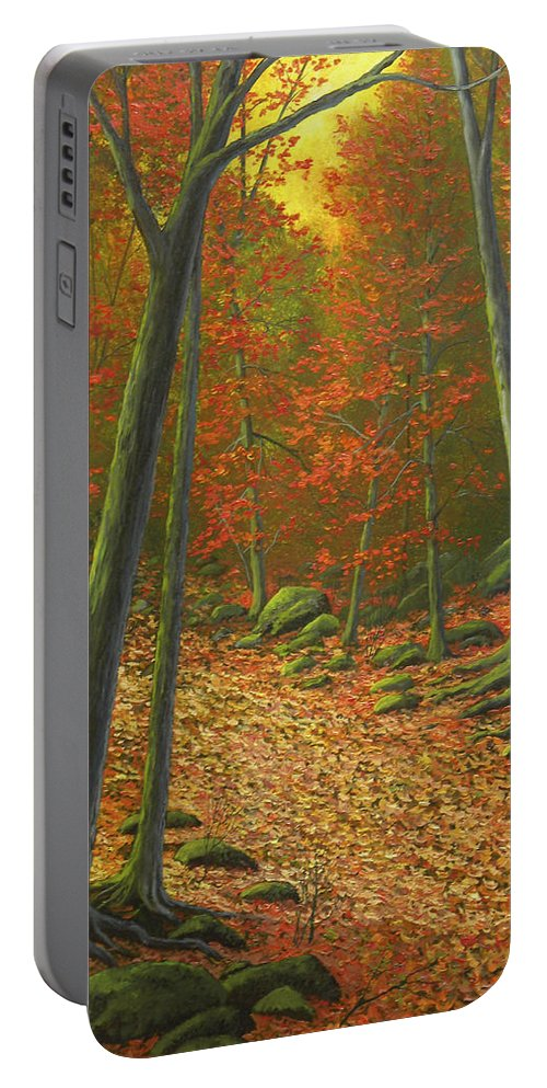 Autumn Leaf Litter Portable Battery Charger featuring the painting Autumn Leaf Litter by Frank Wilson