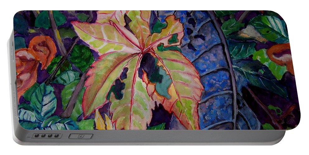 Leaves Portable Battery Charger featuring the painting Autumn Leaves by Caroline Street