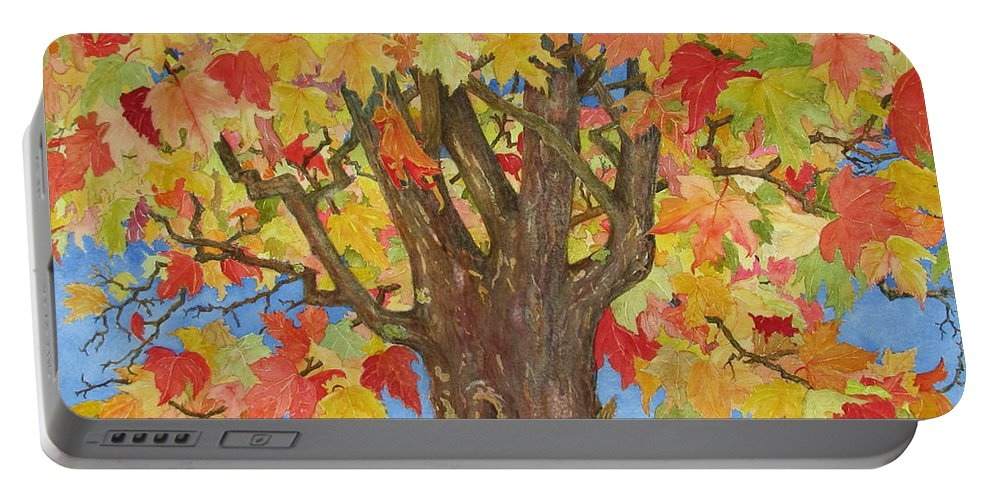 Leaves Portable Battery Charger featuring the painting Autumn Leaves 1 by Mary Ellen Mueller Legault
