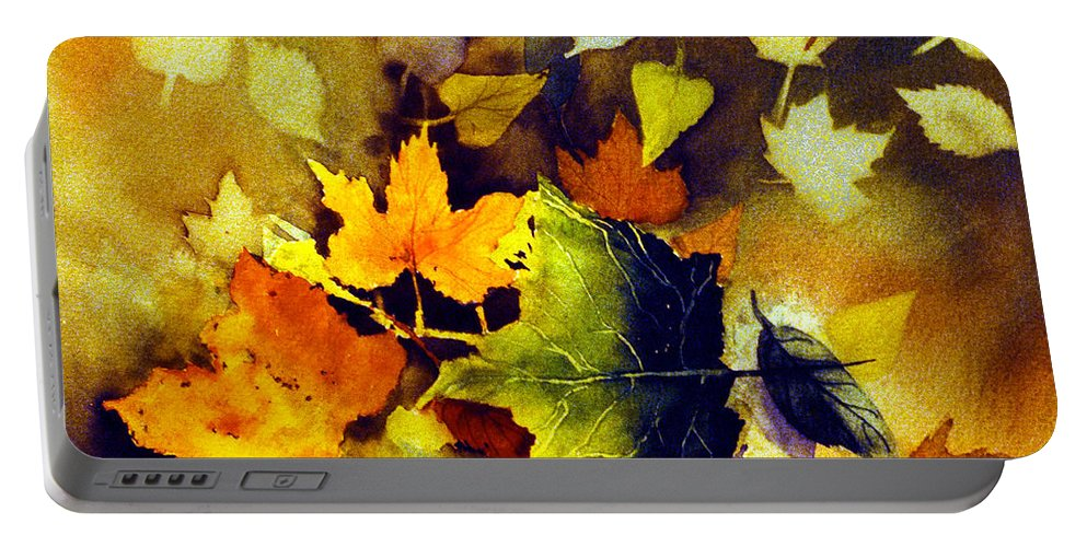 Leaves Portable Battery Charger featuring the painting Autumn Leaves by Teresa Ascone