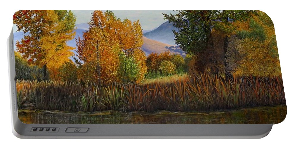 Landscape Portable Battery Charger featuring the painting Autumn Light by Beverly Theriault