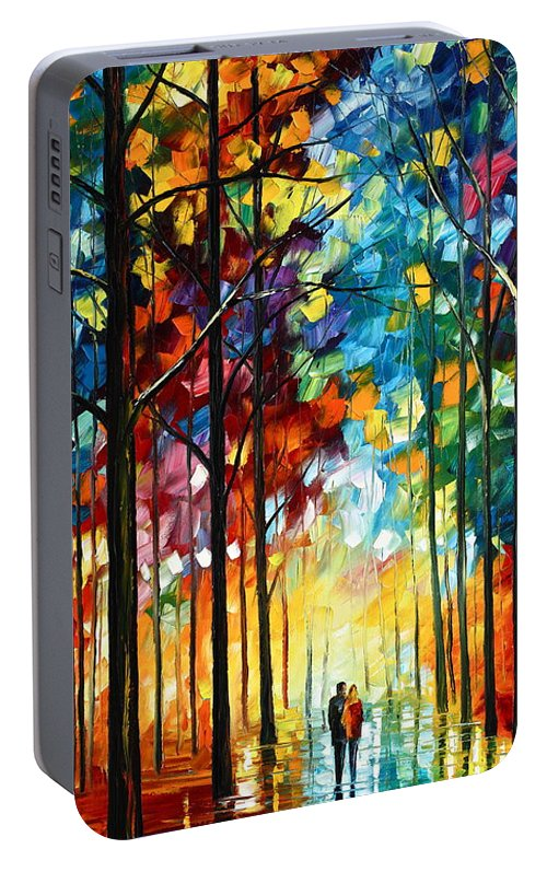 Landscape Portable Battery Charger featuring the painting Autumn Light by Leonid Afremov