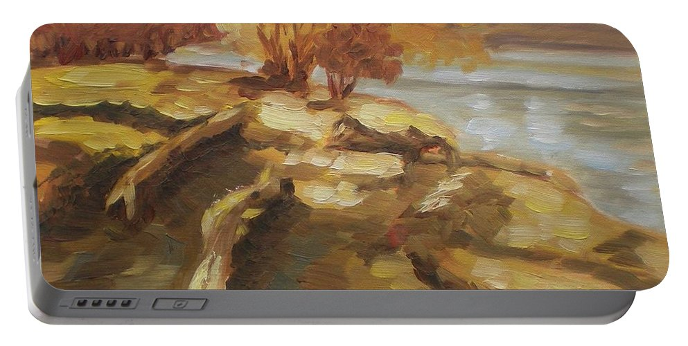 Landscape Portable Battery Charger featuring the painting Autumn Light2 by Elena Sokolova