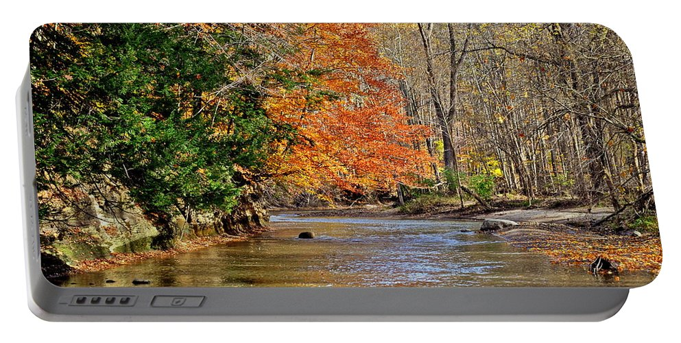 Autumn Portable Battery Charger featuring the photograph Autumn Meets Winter by Frozen in Time Fine Art Photography