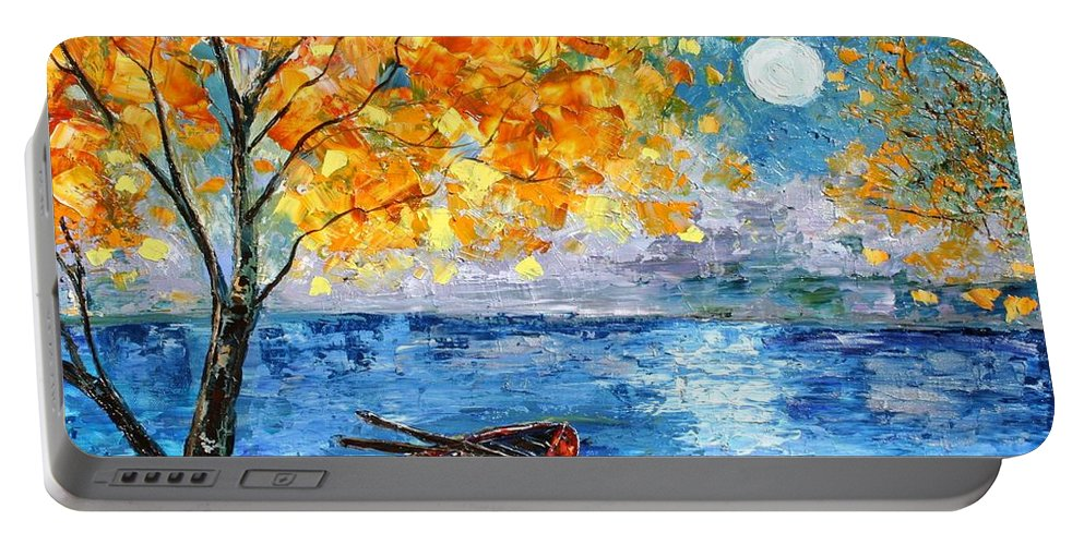 Landscape Paintings Portable Battery Charger featuring the painting Autumn Moon by Karen Tarlton