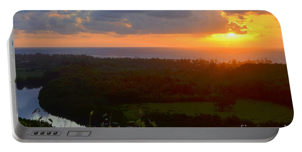 Autumn Portable Battery Charger featuring the photograph Autumn Morning Over Wailua by Mary Deal