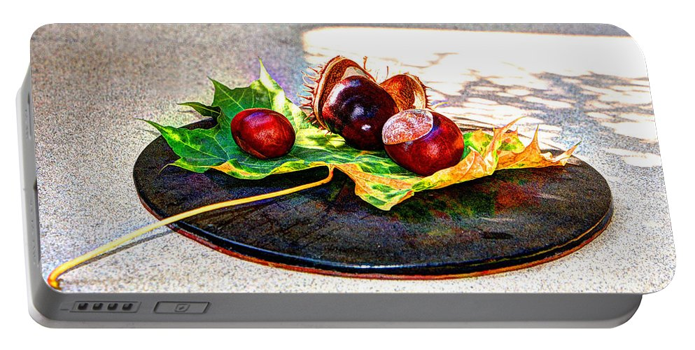 Red Portable Battery Charger featuring the photograph Autumn Offering by Jacklyn Duryea Fraizer