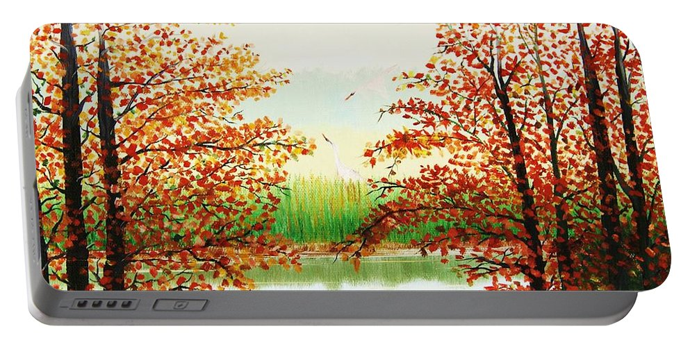 Landscape Portable Battery Charger featuring the painting Autumn On The Ema River Estonia by Misuk Jenkins