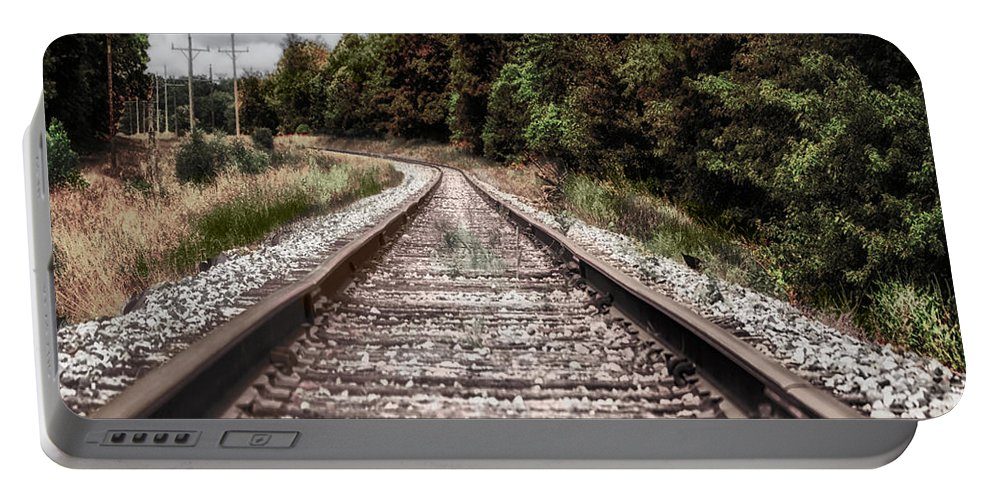 Railroad Portable Battery Charger featuring the photograph Autumn On The Railroad Tracks by Thomas Woolworth
