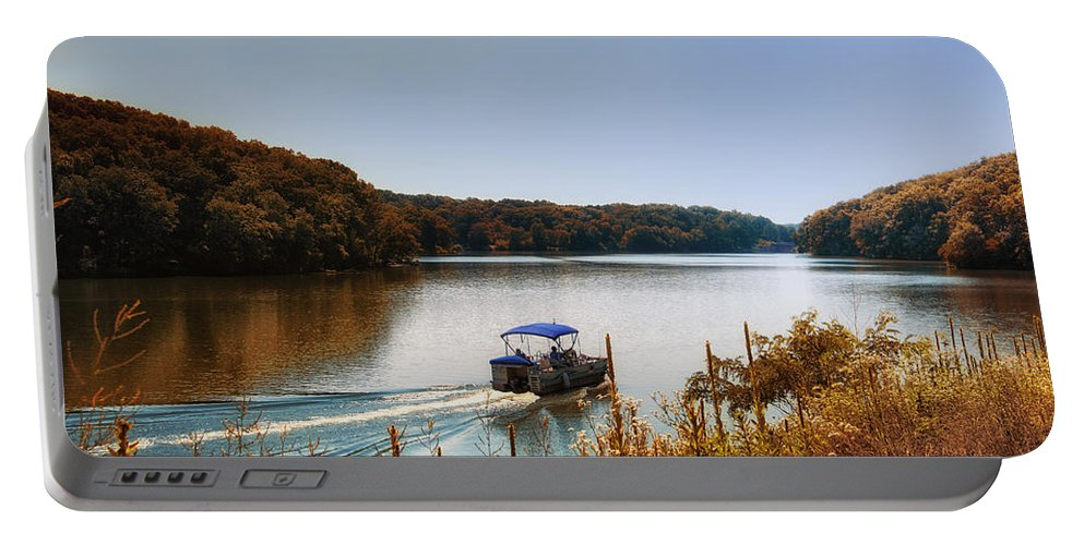Autumn Portable Battery Charger featuring the photograph Autumn Pontoon Boating Argyle Lake by Thomas Woolworth