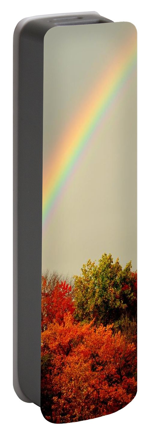 Autumn Portable Battery Charger featuring the photograph Autumn Rainbow by Frozen in Time Fine Art Photography