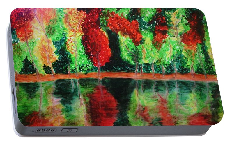 Autumn Portable Battery Charger featuring the drawing Autumn Reflection by Crystal Menicola