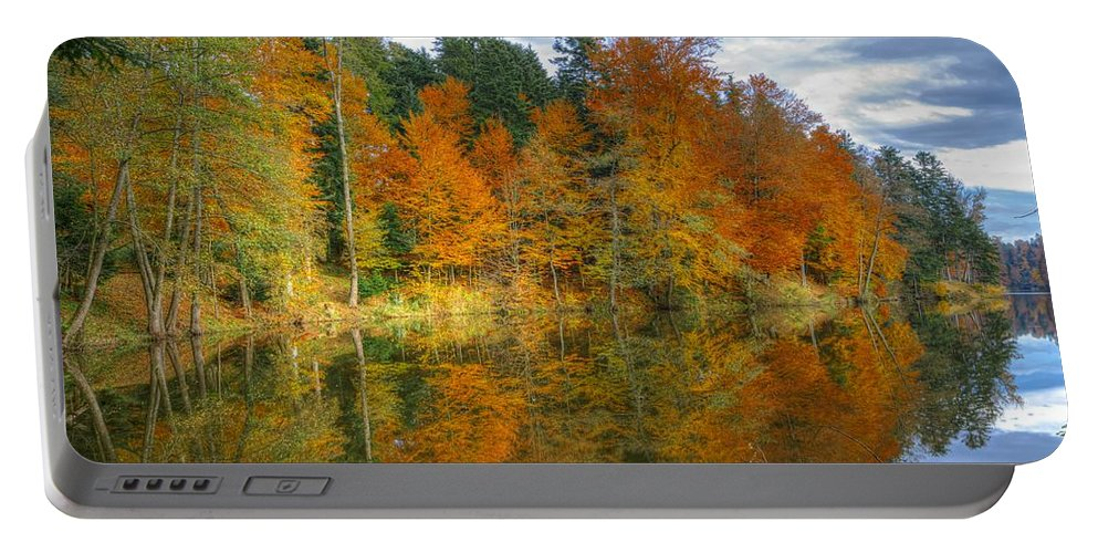 Autumn Portable Battery Charger featuring the photograph Autumn Reflection by Ivan Slosar
