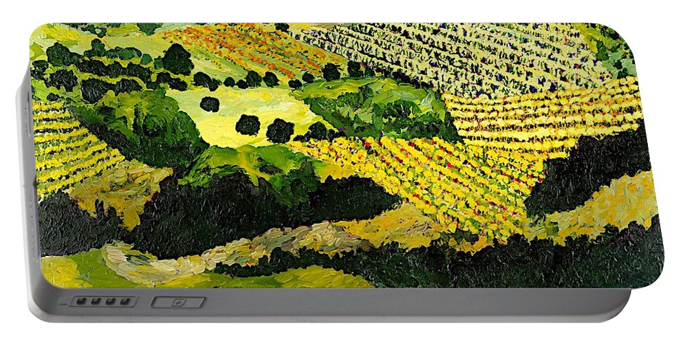 Landscape Portable Battery Charger featuring the painting Autumn Remembered by Allan P Friedlander