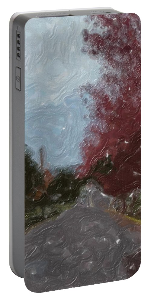 Autumn Portable Battery Charger featuring the painting Autumn Road by Sergey Bezhinets
