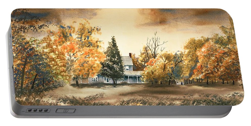 Autumn Sky No W103 Portable Battery Charger featuring the painting Autumn Sky No W103 by Kip DeVore