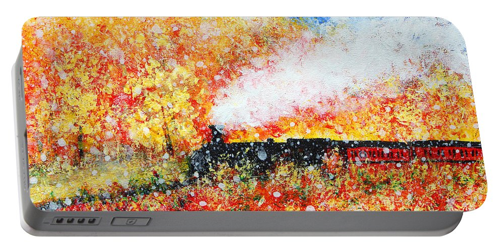 Autumn Snow Portable Battery Charger featuring the painting Autumn Snow by Kume Bryant