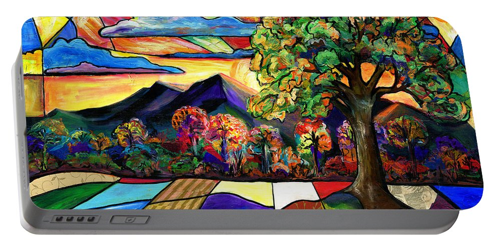 Everett Spruill Portable Battery Charger featuring the painting Autumn Sunrise by Everett Spruill