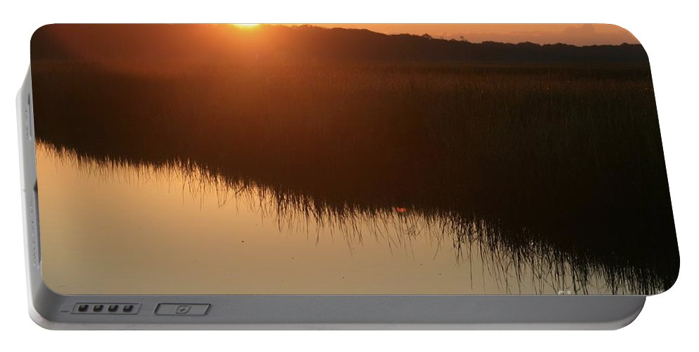 Sunrise Portable Battery Charger featuring the photograph Autumn Sunrise Over The Marsh by Nadine Rippelmeyer