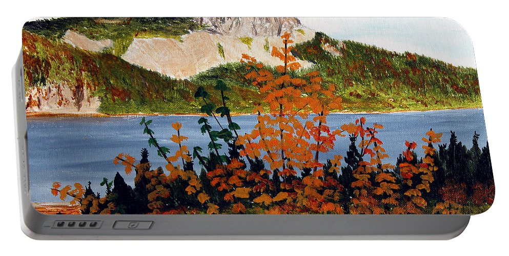 Barbara Griffin Portable Battery Charger featuring the painting Autumn Sunset On The Hills by Barbara Griffin