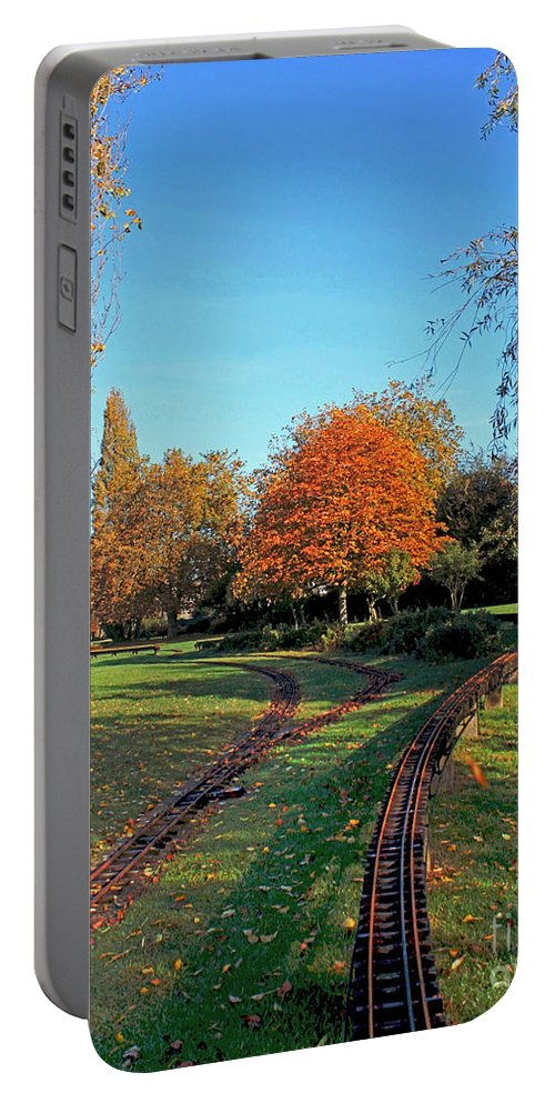 Autumn Woodland Portable Battery Charger featuring the photograph Autumn Tracks by Terri Waters