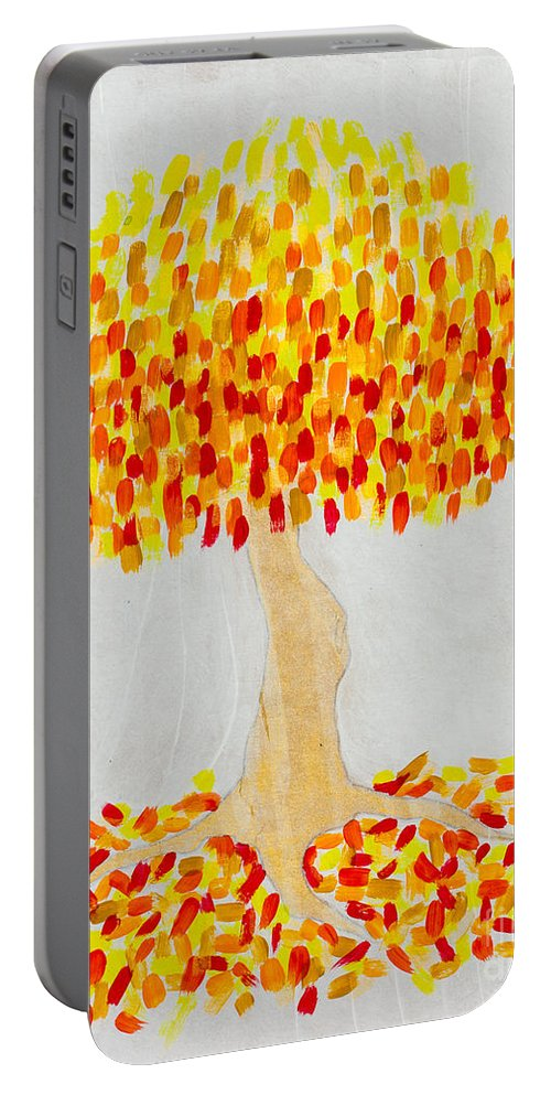 White Portable Battery Charger featuring the painting Autumn Tree by Stefanie Forck