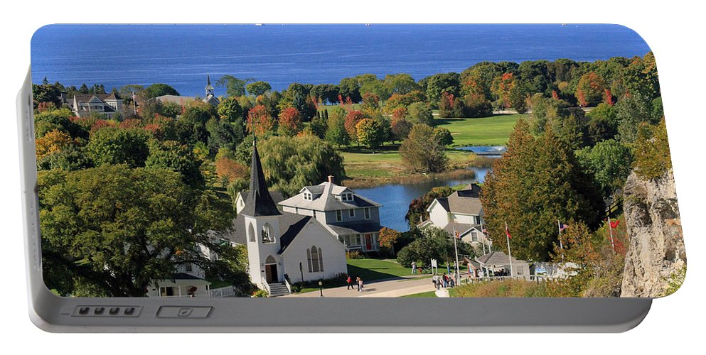 Mackinac Island Portable Battery Charger featuring the photograph Autumn View On Mackinac Island by Jackson Pearson