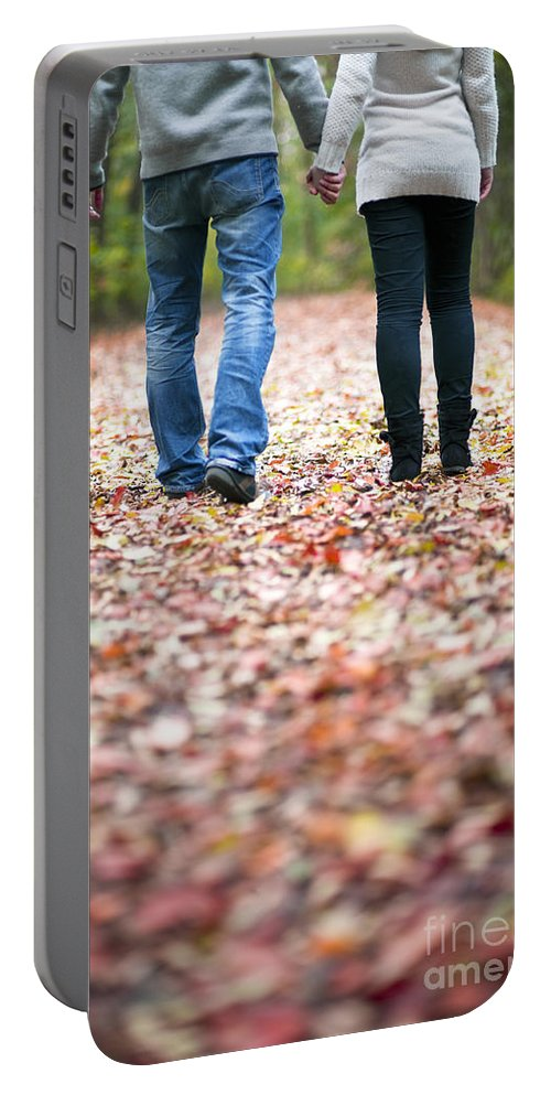 Couple Portable Battery Charger featuring the photograph Autumn Walk In The Woods by Lee Avison