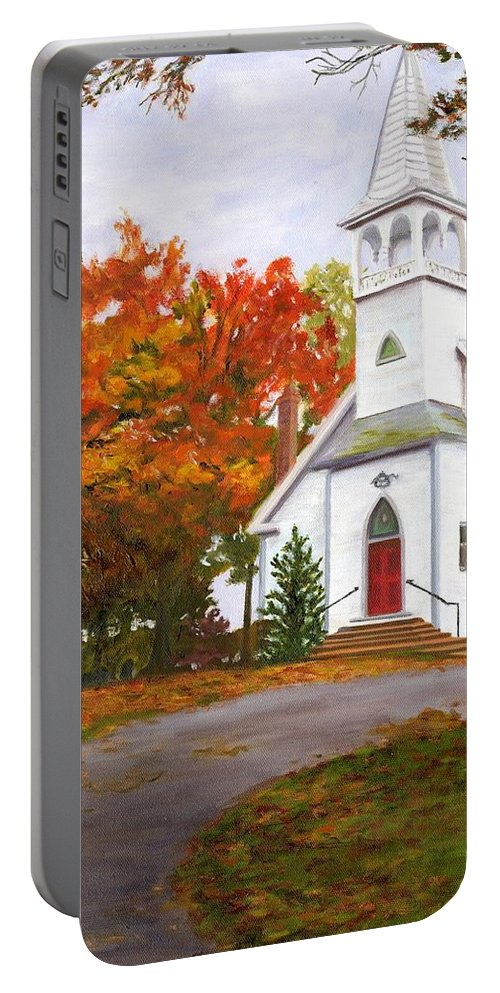 Fall Portable Battery Charger featuring the painting Autumn Worship by Deborah Butts
