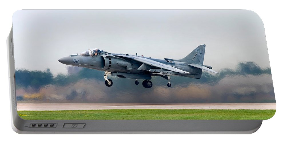 3scape Portable Battery Charger featuring the photograph Av-8b Harrier by Adam Romanowicz
