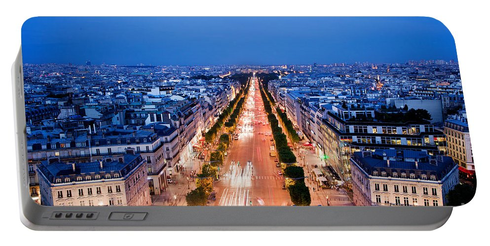 Elysees Portable Battery Charger featuring the photograph Avenue Des Champs Elysees In Paris by Michal Bednarek