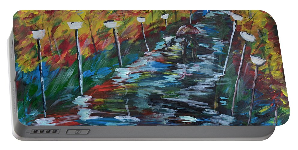 Evening Portable Battery Charger featuring the painting Avenue Of Shadows by Donna Blackhall