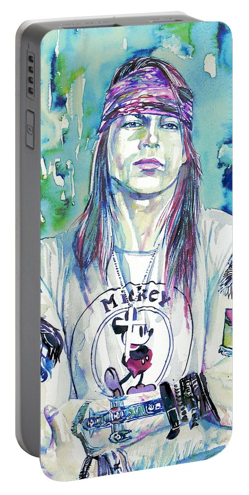 Axl Portable Battery Charger featuring the painting Axl Rose Portrait.1 by Fabrizio Cassetta