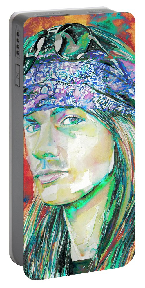Axl Portable Battery Charger featuring the painting Axl Rose Portrait.2 by Fabrizio Cassetta
