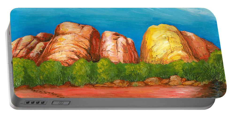 Landscape Portable Battery Charger featuring the painting Ayers Rock End by Carlene Salazar