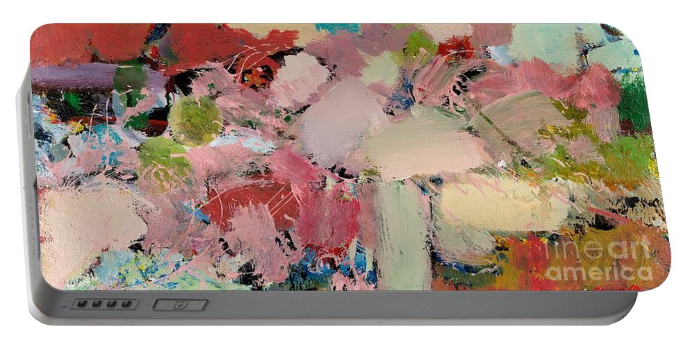 Landscape Portable Battery Charger featuring the painting Azaleas by Allan P Friedlander