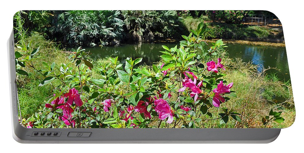 Landscapes Portable Battery Charger featuring the photograph Azaleas By The Pond by Deborah Good