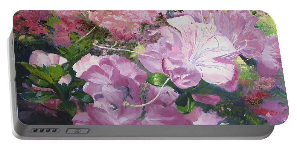 Garden Portable Battery Charger featuring the painting Azaleas Or Rhododendrons by Lea Novak