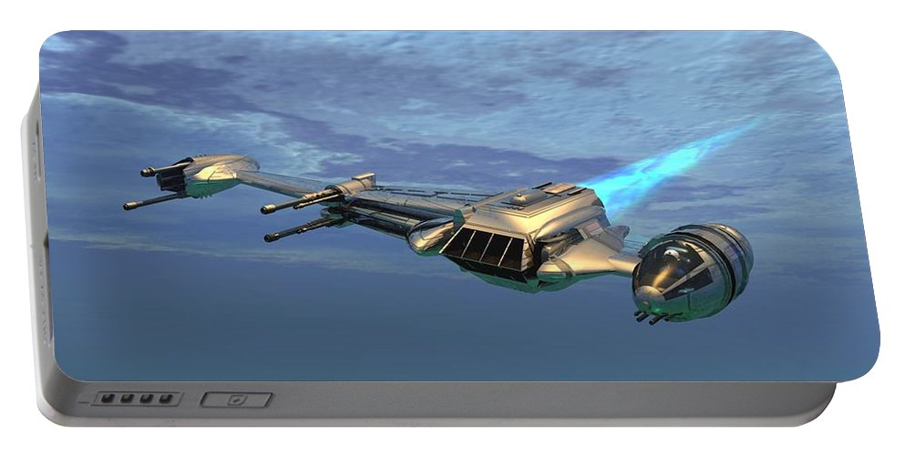 Digital Art Portable Battery Charger featuring the digital art B Wing Aircraft by Michael Wimer