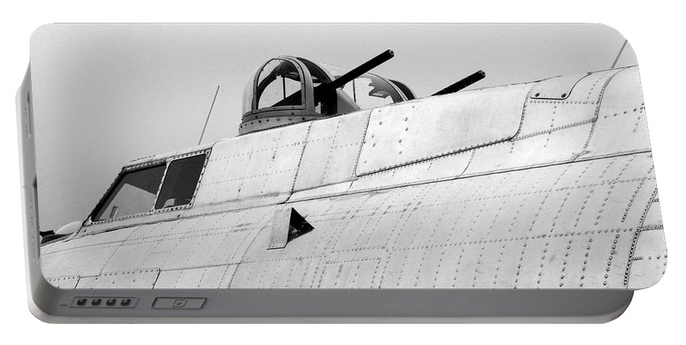 Flying Fortress Portable Battery Charger featuring the photograph B17 Bomber Top Turret Guns by Thomas Woolworth