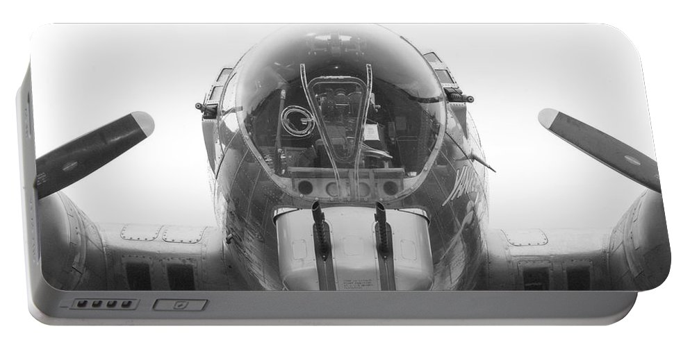 Flying Fortress Portable Battery Charger featuring the photograph B17 Nose Guns by Thomas Woolworth