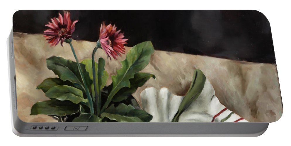 Daisies Portable Battery Charger featuring the painting Baberton Daisies by Jolante Hesse