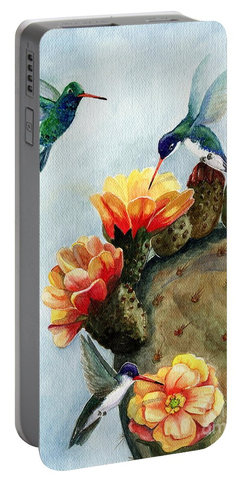 Hummingbirds Portable Battery Charger featuring the painting Baby Makes Three by Marilyn Smith