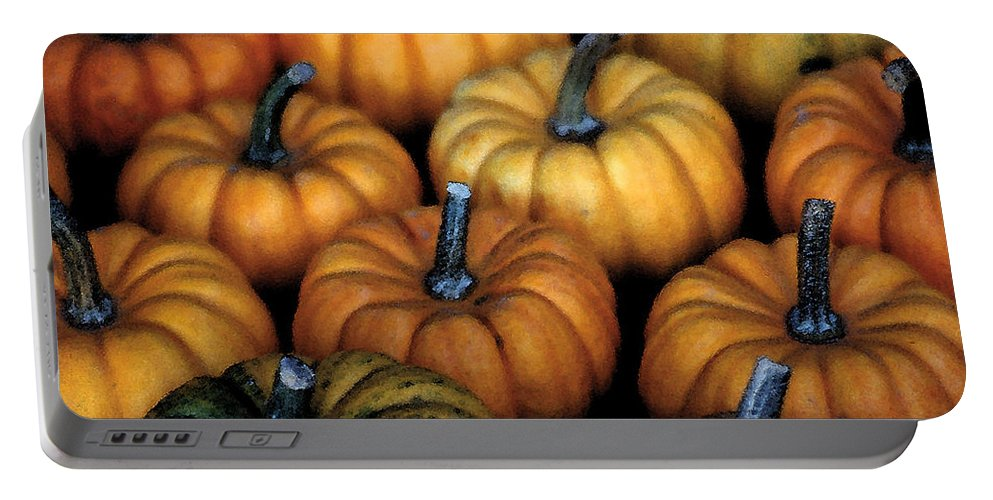 Pumpkin Print Portable Battery Charger featuring the photograph Baby Pumpkins by Rebecca Renfro