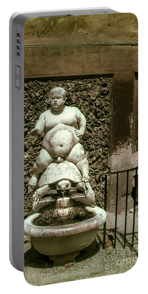 Bacchus Fountain Boboli Gardens Florence Statue Statues Turtle Turtles Nude Man Men Fountains Water Structure Structures Architecture Artwork Italy Portable Battery Charger featuring the photograph Bacchus Fountain by Bob Phillips