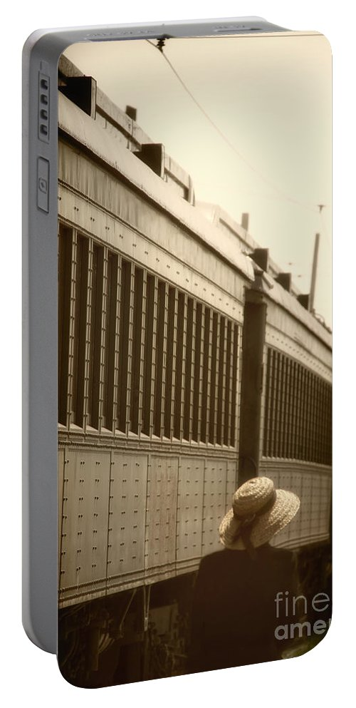 Caucasian; Woman; Female; Lady; Wife; Back; Hat; Train; Transport; Transportation; Exterior; Pullman; Car; Luxury; Station; Window; Travel; Traveling; Vacation; Back; 1930s; 1940s; Vintage Portable Battery Charger featuring the photograph Back In The Day by Margie Hurwich