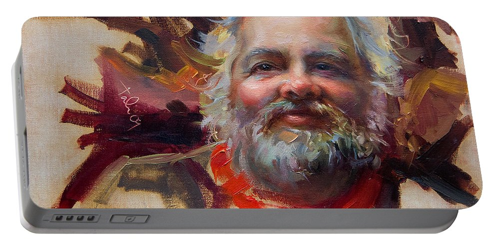 Saint Nicholas Portable Battery Charger featuring the painting Back In Town by Talya Johnson