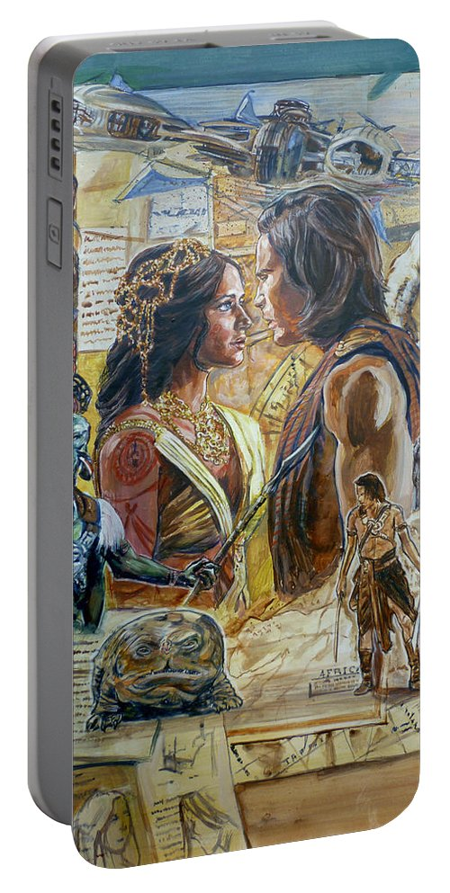 Edgar Rice Burroughs Portable Battery Charger featuring the painting Back To Mars by Bryan Bustard