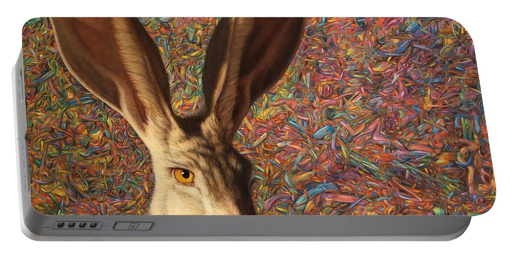 Rabbit Portable Battery Charger featuring the painting Background Noise by James W Johnson
